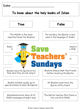 The Qur'an Lesson plan, PowerPoint and Worksheets (K to 2n