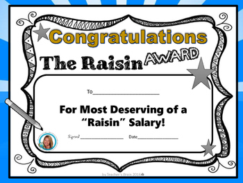 The Raisin Award by Teacher's Brain