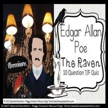 The Raven Edgar Allan Poe Poem Quiz Special Education/ESL/Autism