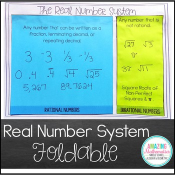 The Real Numbers Foldable (Irrational, Rational, Integers,