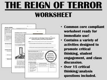 The Reign of Terror worksheet - French Revolution Global H