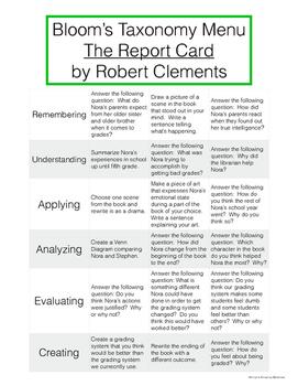 The Report Card - Bloom's Taxonomy Menu