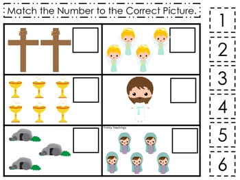 The Resurrection Match the Number Game. Preschool Bible Hi