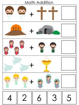 The Resurrection Math Addition Game. Preschool Bible Histo