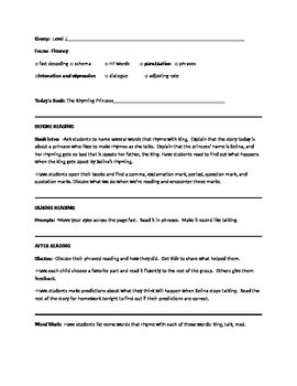 The Rhyming Princess Guided Reading Plan