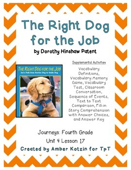 The Right Dog for the Job Activities 4th Grade Journeys Un