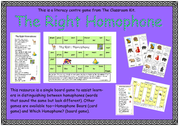 The Right Homophone -Board Game
