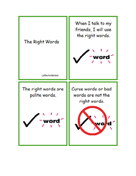 The Right Words Social Story Autism (Swear/Curse Words)