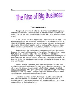 The Rise of Big Business: Reading Comprehension