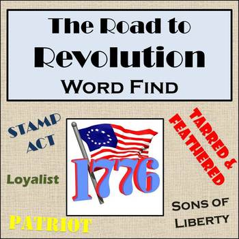 The Road to Revolution Word Find - U.S. History - American