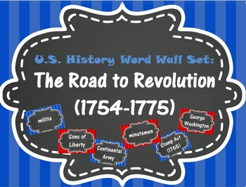 The Road to Revolution Word Wall Set (1754-1775)