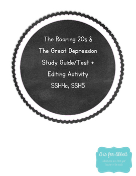The Roaring 20s & Great Depression Test, Study Guide and E