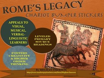 The Roman Empire: Rome's Legacy Chariot Bumper Stickers wi