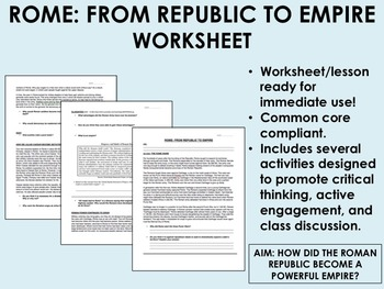 Rome: From Republic to Empire worksheet - Global/World His