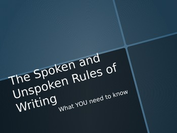 The Rules of Writing
