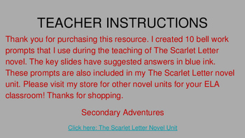The Scarlet Letter Bell Work