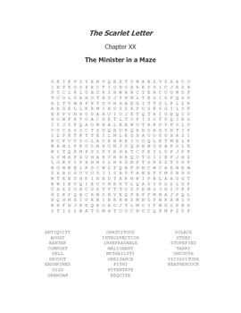 The Scarlet Letter Ch. XX Vocabulary Word Search