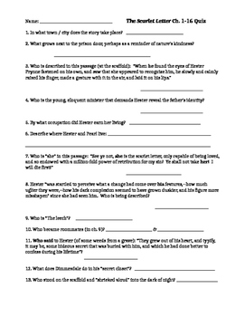 The Scarlet Letter Reading Quiz (Two quizzes: ch. 1-16 and