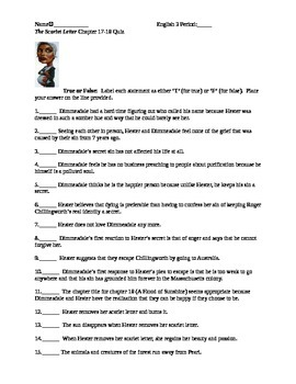 The Scarlet Letter Reading Quiz Chapter 17&18