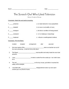 """""""The Screech Owl who Liked Television"""" QUIZ (Journeys Grad"""