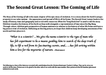 The Second Great Lesson: Story cards & Pictures for the Ti