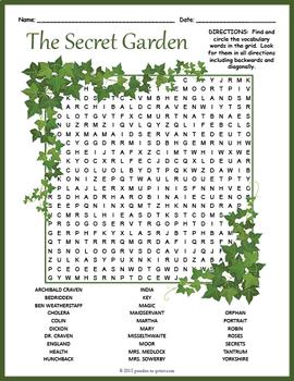 Secret Garden Word Search Puzzle