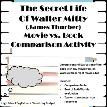The Secret Life of Walter Mitty Movie vs. Book Activity (J