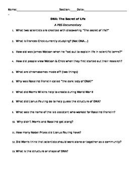 The Secret of Life PBS Video Worksheet
