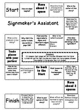 """""""The Signmaker's Assistant"""" Comprehension Game Board- Jour"""