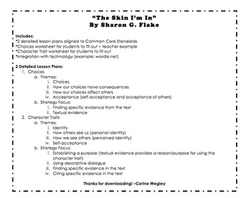 """""""The Skin I'm In"""" by Sharon G. Flake - Unit Lessons: Choic"""