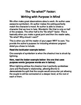 """The """"So What?"""" Factor for AP Literature: Writing With Purp"""