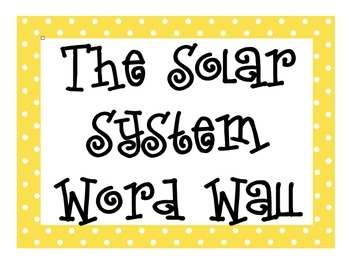 The Solar System Word Wall