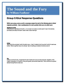The Sound and The Fury - Faulkner - Group Critical Respons