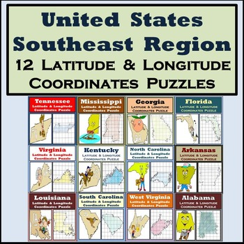 Latitude & Longitude Puzzles - The Southeast Region of the