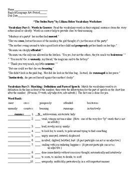 The Stolen Party by Liliana Heker Vocab Worksheet and KEY