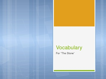 """""""The Stone"""" by Lloyd Alexander Vocab. Powerpoint"""