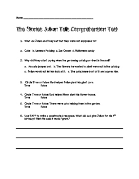 The Stories Julian Tells Comprehension Test