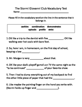 The Stormi Giovanni Club Vocabulary Test and Vocabulary Dominoes