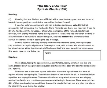 """The Story of an Hour"" Lesson Materials: Text, Questions, Quiz"