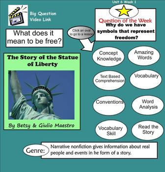 The Story of the Statue of Liberty SmartBoard Menu