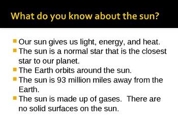 The Sun:  a Power Point Presentation