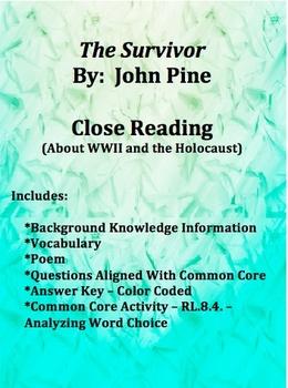 The Survivor (WWII / Holocaust) Close Reading Common Core Aligned