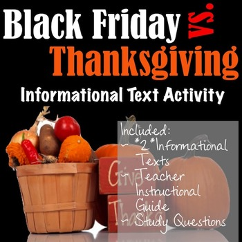 Thanksgiving vs. Black Friday- An Informational Text Activity!