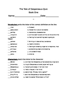 The Tale Of Despereaux Book One Quiz