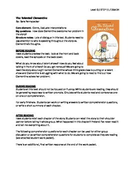 The Talented Clementine Guided Reading LP + Student Work P