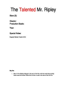 The Talented Mr. Ripley Viewing Guide