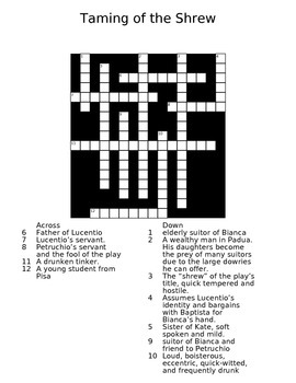 The Taming of the Shrew Crossword