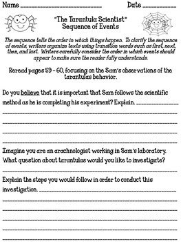 """The Tarantula Scientist"" Reading Analysis Lessons 8 - 10"