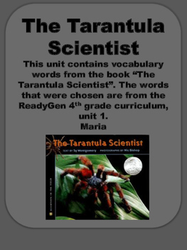 ReadyGen The Tarantula Scientist  Vocabulary Cards 4th gra
