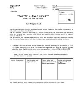 The Tell-Tale Heart Analysis Questions (Common Core)